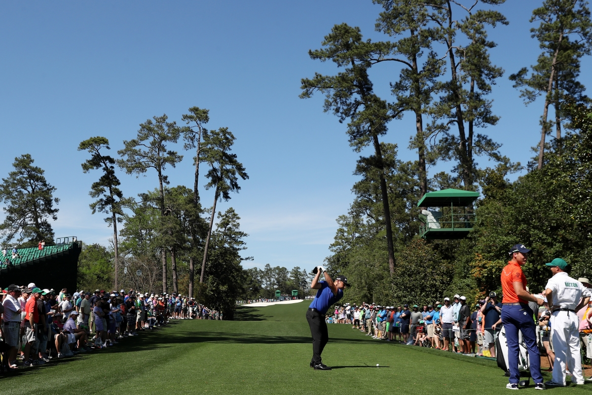 Tyrrell teeing of on the 18th at Augusta